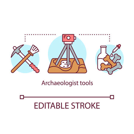 Archeologist tools concept icon. Archaeological expedition. Excavation and laboratory analysis. Treasure hunter equipment idea thin line illustration. Vector isolated outline drawing. Editable stroke