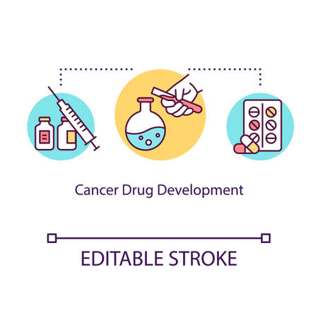 Cancer drug development concept icon. Oncology treatment idea thin line illustration. Medicine. Pills therapy. Pharmacology. Medical lab research. Vector isolated RGB color drawing. Editable stroke