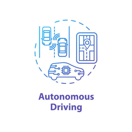 Autonomus driving concept icon. Smart car. Unmanned vehicles idea thin line illustration. Driverless automobile. Artificial Intelligence. Vector isolated outline drawing. Editable stroke Ilustrace