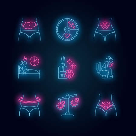 Menstrual cycle neon light icons set. Predmenstrual syndrome. Bloating, abdominal pain. Sleep deprivation. Aromatherapy. Hormone imbalance. Overweight. Glowing signs. Vector isolated illustrations