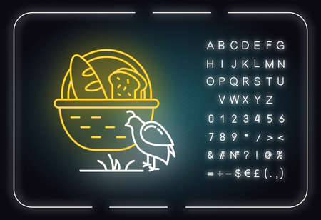 Manna and quail Bible story neon light icon. Bread loaves in basket and fowl. Religious legend. Biblical narrative. Glowing sign with alphabet, numbers and symbols. Vector isolated illustration