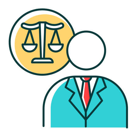 Lawyer RGB color icon. Attorney. Advocate. Legal representative. Trial. Courthouse. Legislature, law enforcement. Justice. Legal assistance. Isolated vector illustration
