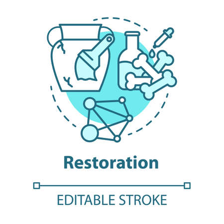 Restoration concept icon. Laboratory analysis archeological artifacts. Prehistoric remains study. History reconstruction. Vector isolated outline RGB color drawing. Editable stroke