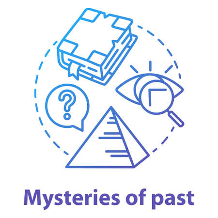 Mysteries of past concept icon. Historical researching. Study of ancient monuments and documents. Archeological researching. Vector isolated outline RGB color drawing Çizim
