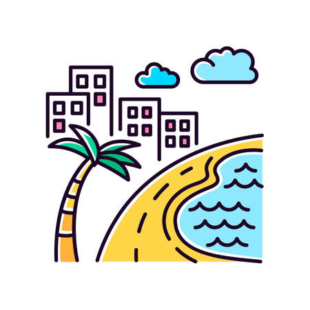 Brazil ocean beach yellow RGB color icon. Skyscrapers and pond. Buildings. Road along coast with palm. San Paulo. Rio de Janeiro. Isolated vector illustration