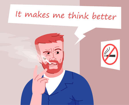 Heavy smoker flat color vector illustration. It makes me think better. Smoking in public place. Smoke addicted man. Bearded guy with cigarette in prohibited place cartoon character