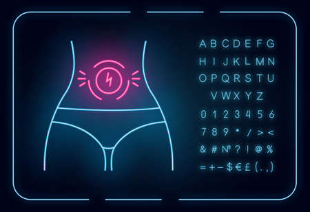 Abdominal pain neon light icon. Stomach ache. Period cramp, menstruation spasm. Predmenstrual syndrome symptom. Glowing sign with alphabet, numbers and symbols. Vector isolated illustration