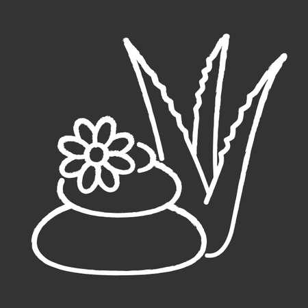 Spa treatment chalk white icon on black background. Cosmetology and dermatology. Organic plant based therapy. Beauty salon. Professional vegan skincare. Isolated vector chalkboard illustration Illusztráció