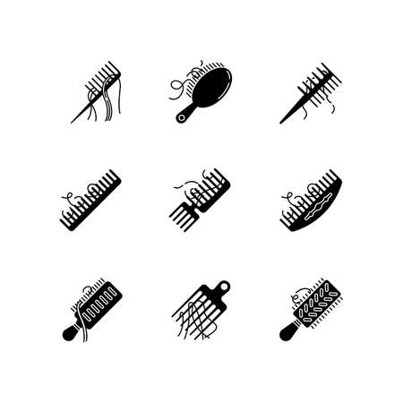 Hair loss black glyph icons set on white space. Comb with hair. Alopecia, stress symptom. Hairbrush with strands. Dermatology, cosmetology. Silhouette symbols. Vector isolated illustration Illustration