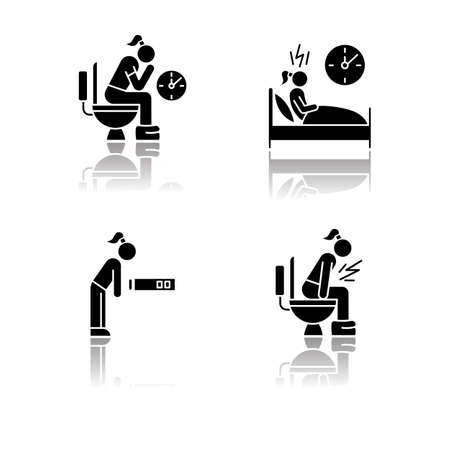 Predmenstrual syndrome drop shadow black glyph icons set. Menstruation symptoms. Constipation and stomach ache. Insomnia. Fatigue, tired girl. Diarrhea, sickness. Isolated vector illustrations