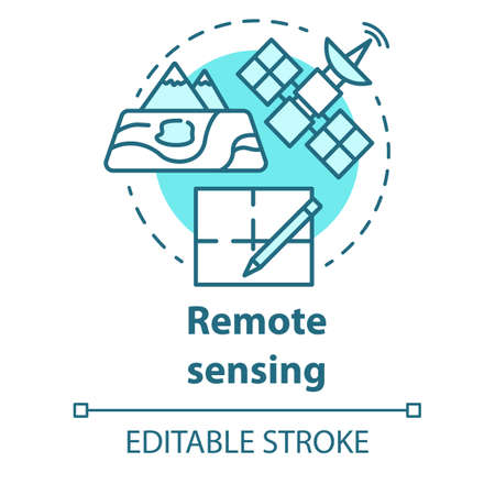 Remote sensing concept icon. Modern cartography. Earth exploration from space. Surveying satellite imagery. Vector isolated outline RGB color drawing. Editable stroke Illustration