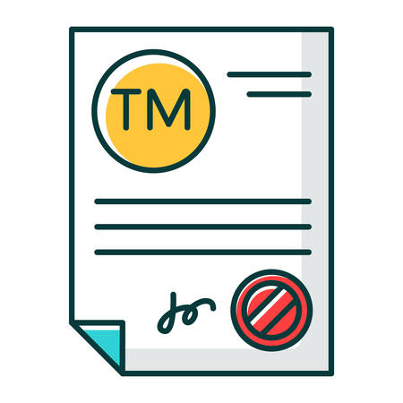 Trademark certificate RGB color icon. Certification mark. Intellectual property license. Brand name registration. Legal document with stamp. Notary services. Isolated vector illustration