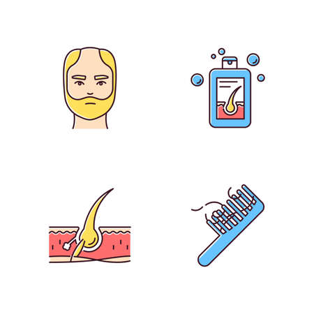 Hair loss RGB color icons set. Man balding treatment. Male alopecia. Hair strands on comb. Damaged follicle. Medical shampoo. Dermatology, cosmetology. Isolated vector illustrations