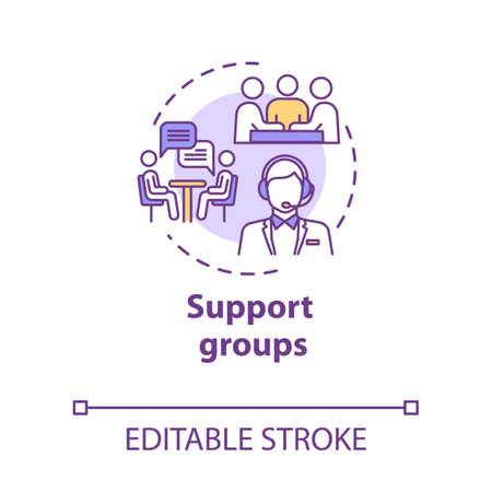 Support groups concept icon. Mutual help team. Psychological assistance organization. Therapeutic assistance idea thin line illustration. Vector isolated outline RGB color drawing. Editable stroke