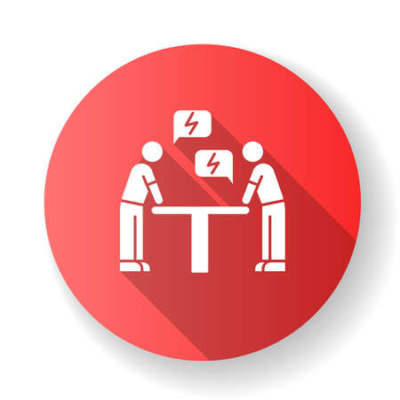 Negotiation red flat design long shadow glyph icon. Dialogue between parties. Argument. Opposing interests. Conflict. Dispute. Lawsuit. Rivals, adversaries. Silhouette RGB color illustration Иллюстрация