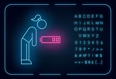 Fatigue neon light icon. Tired girl. Overworked woman. Exhausted person. Overwhelmed workaholic. Lethargy, weakness. Glowing sign with alphabet, numbers and symbols. Vector isolated illustration 일러스트