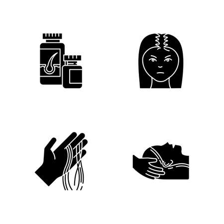 Hair loss black glyph icons set on white space. Female baldness. Alopecia treatment. Woman with thinning hair. Physiotherapy, vitamin supplements. Silhouette symbols. Vector isolated illustration