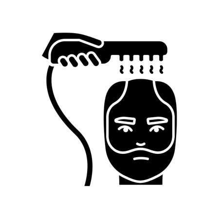 Alopecia treatment black glyph icon. Help with male baldness. Laser therapy. Professional dermatology aid, medical procedure. Silhouette symbol on white space. Vector isolated illustration