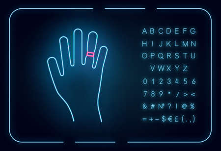 Swelling neon light icon. Weight gain. Swollen finger. Bloating on arm. Hand inflation. Predmenstrual syndrome symptom. Glowing sign with alphabet, numbers and symbols. Vector isolated illustration