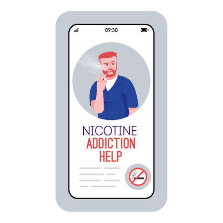 Nicotine addiction help cartoon smartphone vector app screen. Mobile phone display with flat character design mockup. Anti tobacco support. Stop smoking application telephone interface