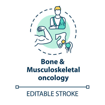 Bone and musculoskeletal oncology concept icon. Bone and muscle cancer treatment. Recovery from injuries idea thin line illustration. Vector isolated outline RGB color drawing. Editable stroke