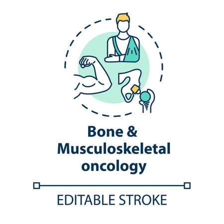 Icône de concept d'oncologie osseuse et musculo-squelettique. Traitement des cancers des os et des muscles. Récupération des blessures idée illustration fine ligne. Dessin de couleur RVB de contour isolé de vecteur. Trait modifiable