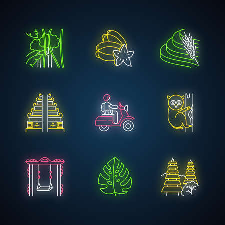 Indonesia neon light icons set. Tropical country animals. Trip to Indonesian islands. Exploring exotic culture. Unique flora. Architecture landmarks. Glowing signs. Vector isolated illustrations