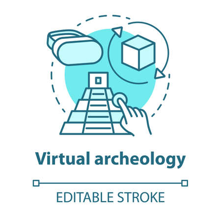Virtual archeology concept icon. Computer simulations of cultural sights. Modeling and visualization of historic monuments. Vector isolated outline RGB color drawing. Editable stroke