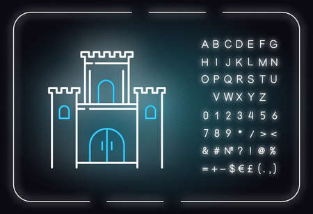 Solomon temple Bible story neon light icon. Jerusalem king castle. Worship building. Religious legend. Biblical narrative. Glowing sign with alphabet, numbers and symbols. Vector isolated illustration Ilustrace