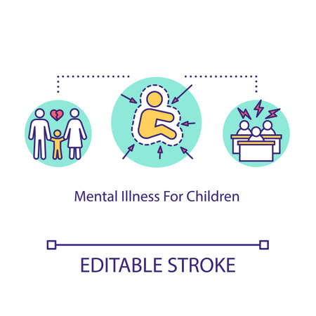 Mental illness for children concept icon. Pediatrics idea thin line illustration. Autism. Medical help for kids. Psychological problems. Vector isolated outline RGB color drawing. Editable stroke 일러스트