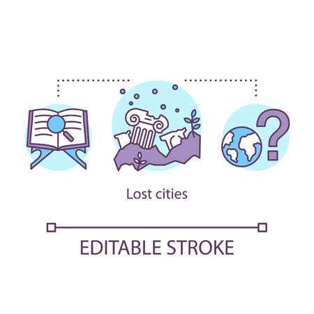 Lost cities concept icon. Ancient settlement researching. archeological site. Study of cataclysms in history of mankind idea thin line illustration. Vector isolated outline drawing. Editable stroke Illustration
