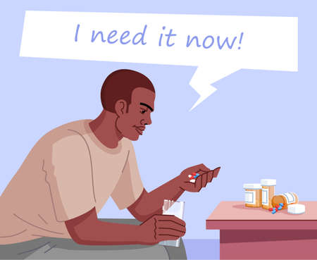 Drug addiction flat color vector illustration. I need it now. Chronic pain medication. Narcomania. Young african american man going to take pills and drink it with water cartoon character