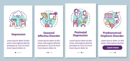 Mental disorder onboarding mobile app page screen with concepts. Psychological problems walkthrough four steps graphic instructions. Depression. UI vector template with RGB color illustrations 일러스트