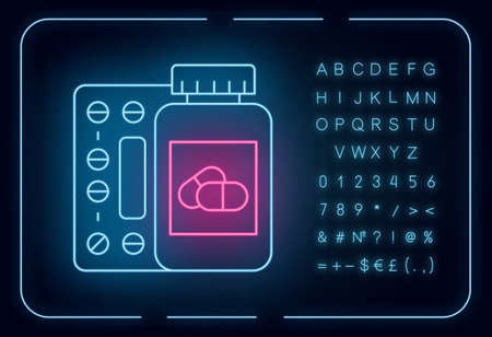 Medication neon light icon. Pills in bottle. Prescription and supplement. Medical product. Pharmaceutical medicament. Glowing sign with alphabet, numbers and symbols. Vector isolated illustration