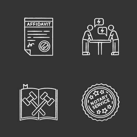 Notary services chalk white icons set on black background. Apostille and document legalization. Affidavit. Legal code. Court statute. Negotiation. Argument. Isolated vector chalkboard illustrations