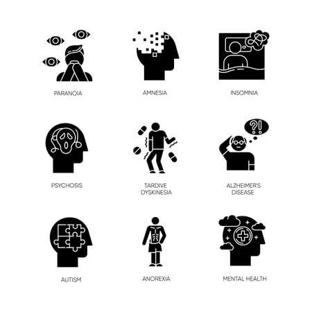 Set di icone glifo disturbo mentale. Paranoia, psicosi. Amnesia, insonnia. Discinesia tardiva. malattia di Alzheimer. Autismo. Anoressia. Ansia, depressione. Simboli di sagoma. Illustrazione vettoriale isolato Vettoriali