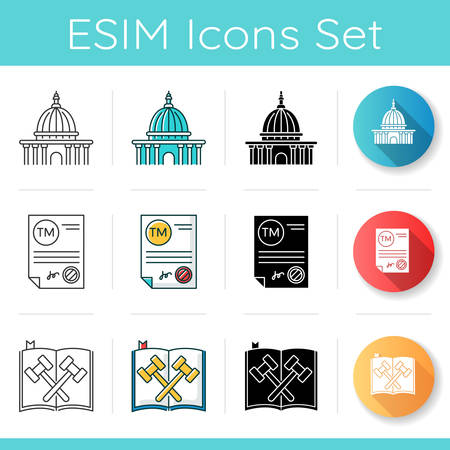 Notary services icons set. Apostille and legalization. Notarized document. Trademark certificate. Legal code, statute. Supreme court. Linear, black and RGB color styles. Isolated vector illustrations Ilustração