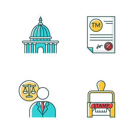 Notary services RGB color icons set. Apostille and legalization. Notarized document. Trademark certificate. Supreme court. Lawyer, attorney. Legislature. Stamp. Isolated vector illustrations