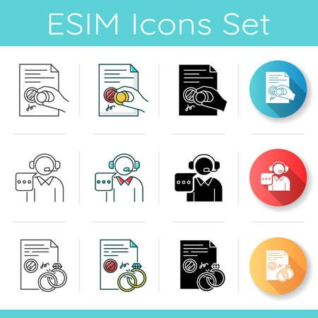 Notary services icons set. Apostille and legalization. Legal document. Certificate. License. Divorce. Call center, customer support. Linear, black and RGB color styles. Isolated vector illustrations