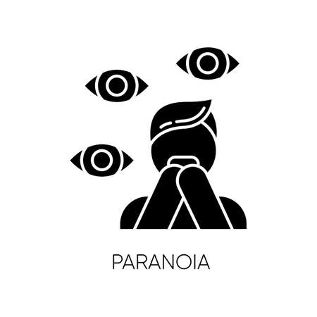 Paranoia glyph icon. Panic attack. Scared person. Terrified man. Stress and anxiety. Delusion and irrationality. Mental disorder. Silhouette symbol. Negative space. Vector isolated illustration 일러스트
