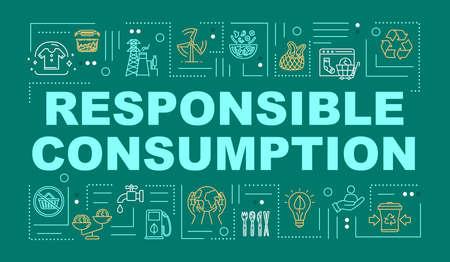 Bannière de concepts de mot de consommation responsable. Recyclage, production respectueuse de l'environnement. Infographie avec des icônes linéaires sur fond de menthe. Typographie isolée. Illustration de couleur RVB de contour vectoriel