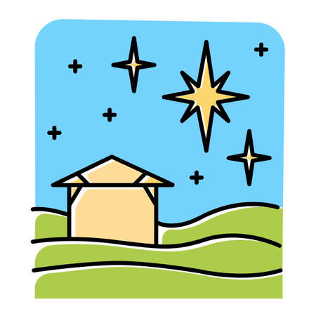 Christmas star blue color icon. Christian holy night. Christmas eve. Starry sky and small house. Birth of Jesus Christ. Star of Bethlehem. Bible story. Isolated vector illustration Ilustrace