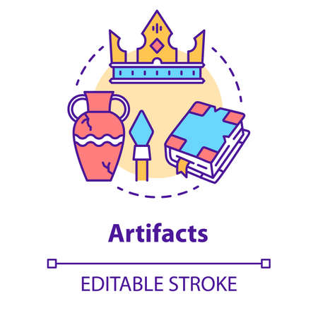 Artifacts concept icon. Ancient treasures. Museum exhibits. Archaeological old civilization evidences. Historical research idea thin line illustration. Vector isolated outline drawing. Editable stroke