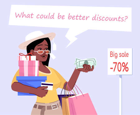 Shopaholic woman flat color vector illustration. What could be better discounts. Compulsive buying disorder. Young stylish girl with shopping bags isolated cartoon character on light lilac background