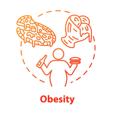 Obesity concept icon. Unhealthy eating habits. Overweight person. Calories from fast food. Weight problem. Overconsumption idea thin line illustration. Vector isolated outline RGB color drawing
