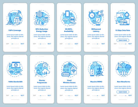 5G technologies onboarding mobile app page screen with linear concepts. Fixed wireless access. Shorter frequencies. Walkthrough steps graphic instructions. UX, UI, GUI vector template, illustrations