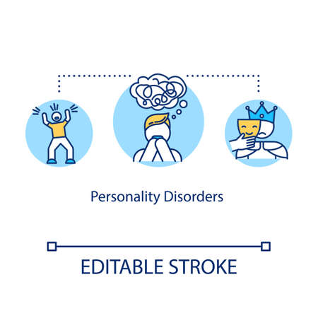 Personality disorders concept icon. Mental illness idea thin line illustration. Psychosis. Schizophrenia. Psychological problems. Vector isolated outline RGB color drawing. Editable stroke 일러스트