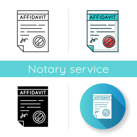 Confirmed affidavit icon. Signed notarized document. Apostille and legalization. Written statement. Declaration. Notary services. Linear black and RGB color styles. Isolated vector illustrations