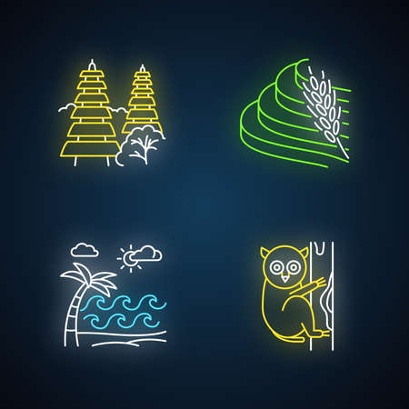 Indonesia neon light icons set. Tropical animal. Vacation in Indonesian islands. Explore exotic wildlife. Unique flora. Bali sightseeing, architecture. Glowing signs. Vector isolated illustrations Ilustrace
