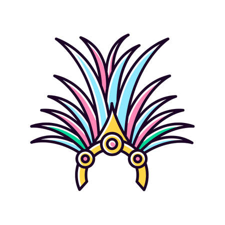 Brazilian carnival headwear yellow RGB color icon. Crown with palm leaves and jewels. Traditional wear. Ethnic festival. National holiday. Masquerade parade. Isolated vector illustration